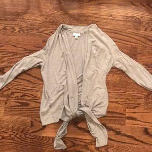 Knit heather grey tie cardigan